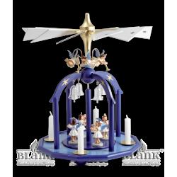 PGF 002 Pyramide mit 7 Engeln und Glasglöckchen, farbig von Blank Kunsthandwerk, Gruenhainichen