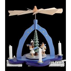 Weihnachtspyramide mit 3 Kurzrockengel, farbig