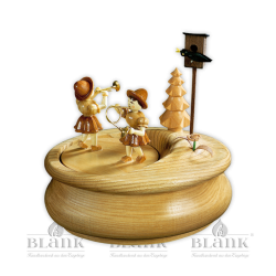 Music box with flower girls, oval